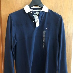 TOMMY HILLFIGER MENS POLO PULLOVER NAVY & WHITE,